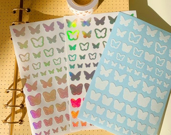 Butterfly Sticker Sheet Holographic | Bullet Journal, Polco Deco, Cute Aesthetic Sticker, Bujo Stickers, Korean Sticker, Kpop Photocard