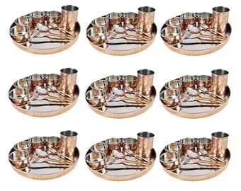 6 PCs Pure Bronze Kansya Thali Plate Set With 3 Bowl 1 Spoon 1 Glass Dinnerware Complete Set Beautiful Gift Set