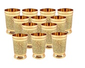 Indian Handmade Embossed Designer Brass Mint Julep Cup Goblet Tumbler Capacity 10 Ounce Each