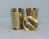 Indian Hanmade Embossed Finish Designer Brass Mint Julep Cup Goblet Tumbler Capacity 12 Ounce Each