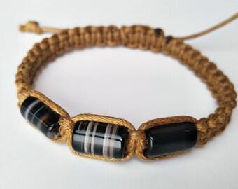 Handmade Boho Knotted Natural Black Agate Beaded Bracelet