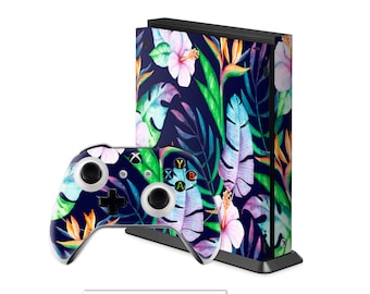 flower Xbox One X skins Xbox One S watercolor stickers fern Xbox One Elite plants Xbox 360 leaf vinyl Skin sticker controller remote XBC125
