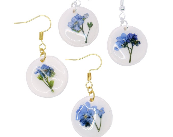 Featured listing image: Porcelain Earrings with Forget Me Not