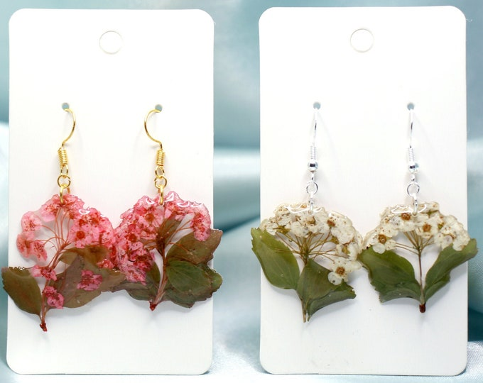Featured listing image: Bouquet Earrings in Pink or White, Sterling Silver / Gold Plated Wire