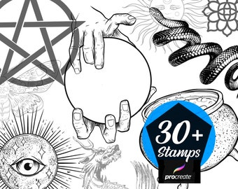 Witchcraft / Occult themed stamps for procreate over 30 drawn illustrations
