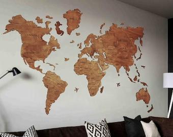 Weltkarte Holz Etsy