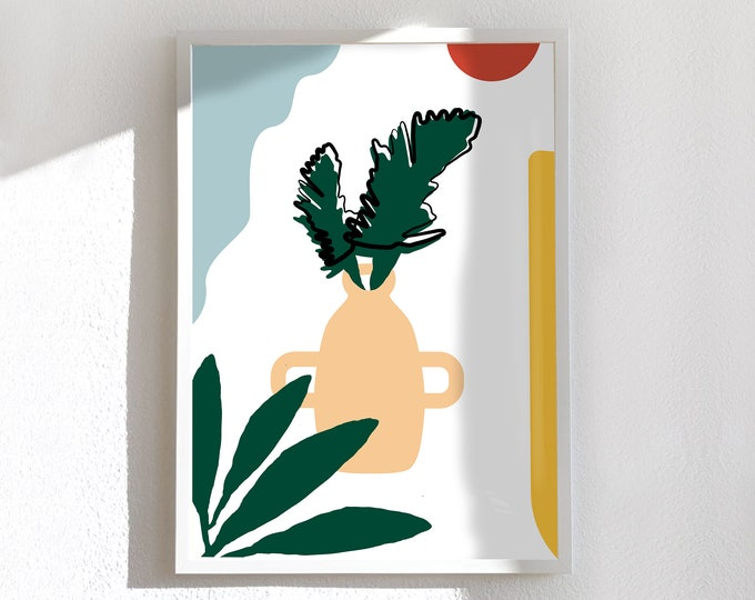 Medium and large card and poster, minimal vase