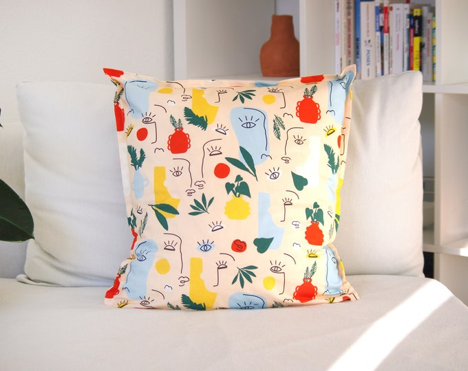 Cushion cover, Minimal, 100% Cotton, Made in France