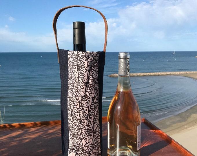 Porte bouteille en toile denim, coton et cuir - Made in France