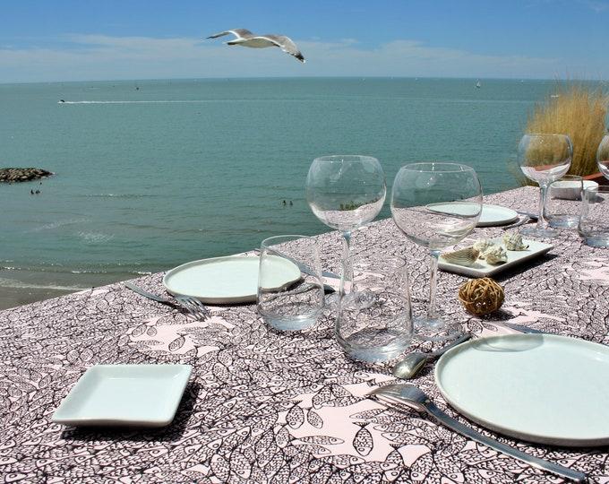 Nappe - 100 % coton - motifs poissons - Rose pâle - Grand Travers