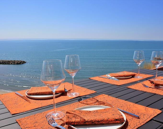 Set de table - 100 % coton - motifs poissons - orange Corail - Grand Travers - La Grande Motte - Occitanie - Made in France