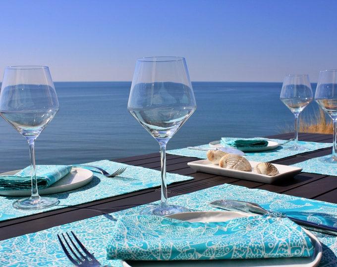 Set de table - 100 % coton - motifs poissons - vert Turquoise - Grand Travers - La Grande Motte - Occitanie - Made in France