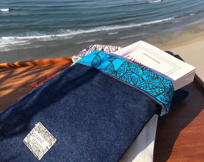 Pochette protège livre en toile denim et coton lavable - Made in France