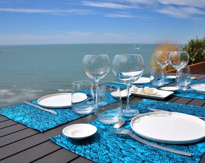 Set de table - 100 % coton - motifs poissons - bleu Atoll - Grand Travers - La Grande Motte - Occitanie - Made in France