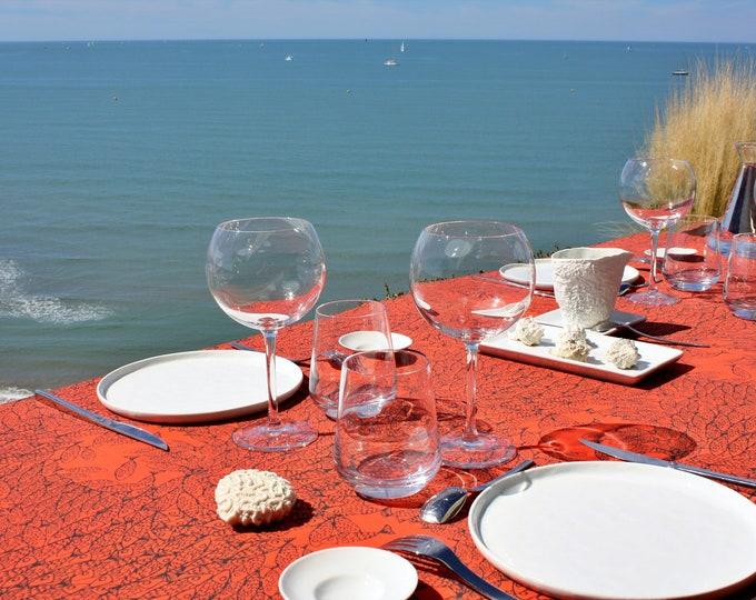 Nappe - 100 % coton - motifs poissons - Orange corail - Grand Travers