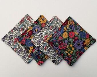 Handmade Liberty of London Fabric Coaster Set, Quilted Coaster Set, Liberty Coasters, Hostess Gift, Housewarming Gift Under 15, Spring Decor