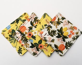 Handmade Rifle Paper Co Fabric Coaster Set, Rifle Paper Coasters, Citrus Coasters, Spring Decor, Housewarming Gift, Mother's Day Gift