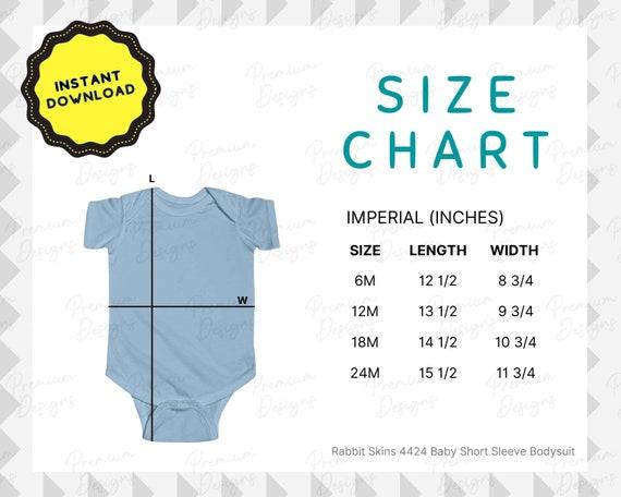 Rabbit Skins Baby Size Chart | 4424 Short Sleeve Bodysuit Downloadable Modern Minimal Flat Lay Size Guide, Printful Printify Print on Demand