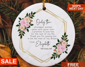 Personalized Mother of Groom Mother of Bride Thank you Gift,Wedding Keepsake Quote,Ornament Wedding Keepsake,Floral Ceramic Round Decoration