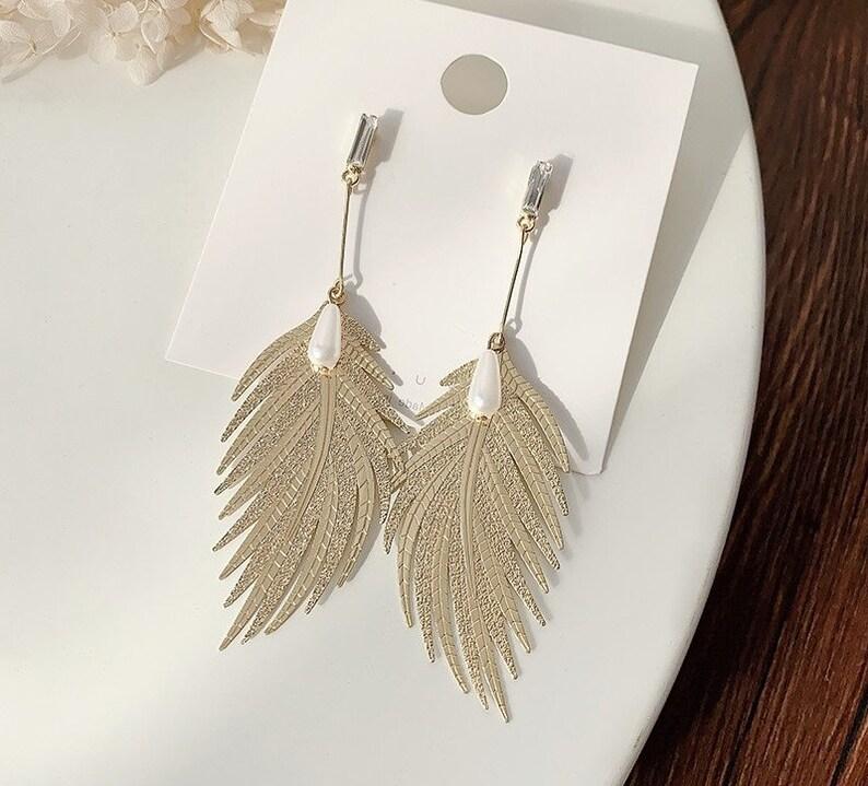 Abstract Earrings Gold leaf statement earrings geometric earrings metal leaf earrings gift for her friendship Wearable Art Jewelry