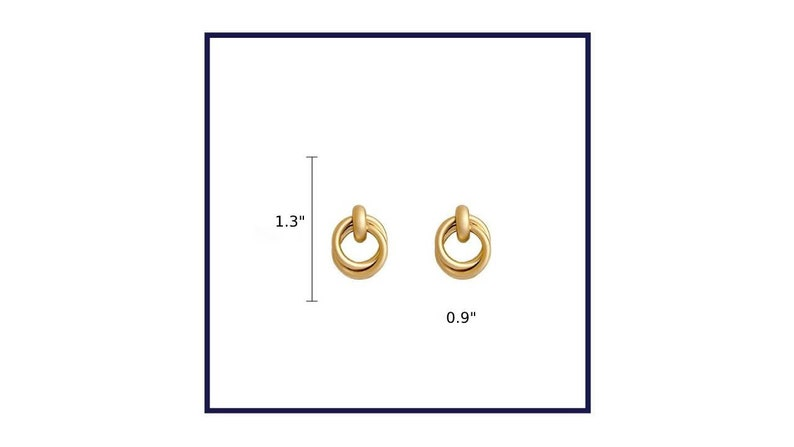 Gold Round Earrings mother/'s day gift for her Boho Stud Earrings Mid Hoop Earrings in Gold Color Geometric Earrings Birthday gift