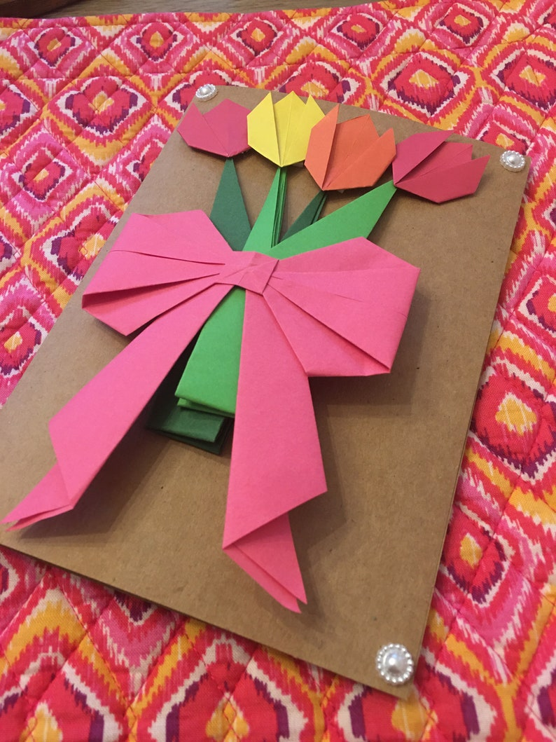origami tulips flower bouquet greeting card  etsy
