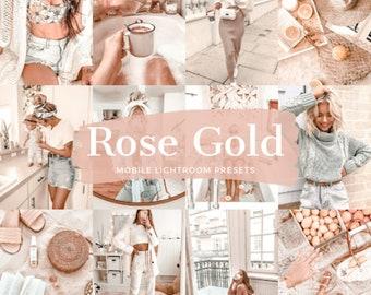 10 Lightroom Presets ROSE GOLD, Lightroom Mobile Desktop Presets, Soft Cream Preset, Light and Bright Blogger Preset