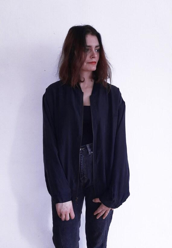 Vintage Silk black unisex bomber very light evenin