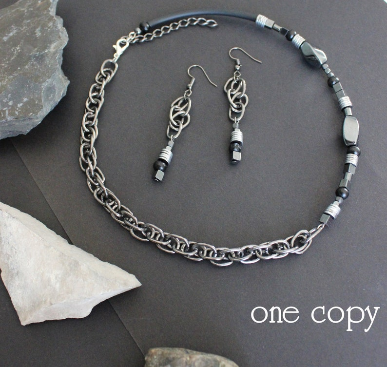 asymmetric necklace contemporary jewelry earrings chains unusual necklace hematite necklaces statement necklace choker with chains