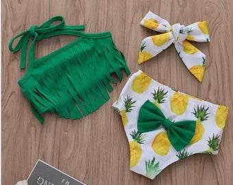 Baby Girl Babies Swimwear Tassels Floral Pinapple Bowknot Swimsuit Bathing Suit Bikini Set Outfits Summer