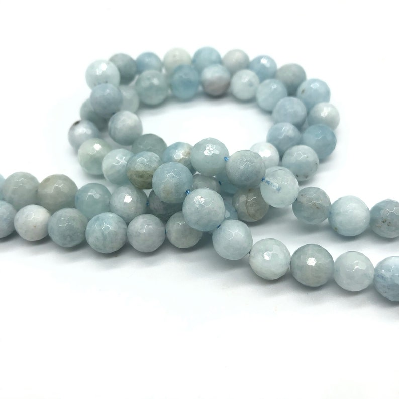 12mm 8mm 10mm Crystal Quartz Beads Cut 4mm Natural Faceted Round Aquamarine Beads Genuine Beads for Jewelry Making 6mm