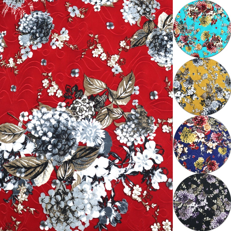 5556 190GSM 5 Colors Flower Pattern Printed Single Spandex Knit Jacquard Fabric with Puff by the YardYU-7226 D#63