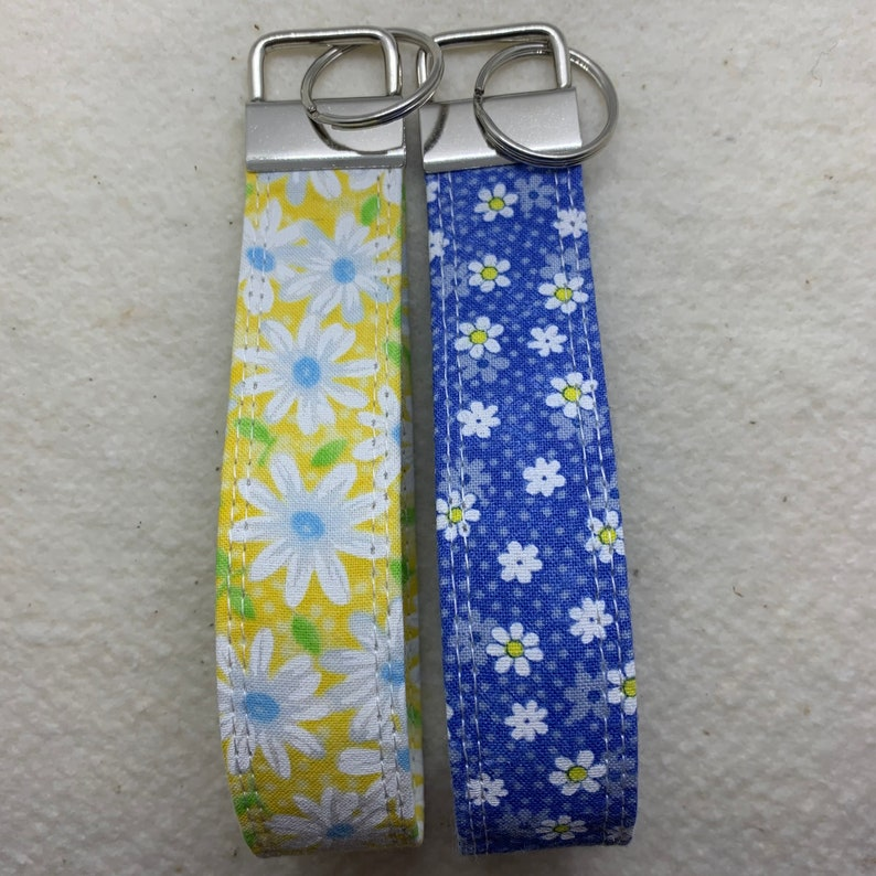 Wrist Keychain Blue /& Yellow Floral Key Fob Set Wristlet Key Fob Vibrant Key Fobs Fabric Key Fob