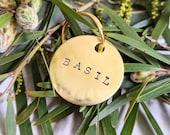 Custom Hand Stamped Dog Tags - Gold Handmade Engraved Typewriter Font Metal Brass Circle Tag