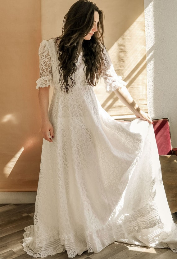 Wedding wedding dress dress vintage 70s BOHO hippi