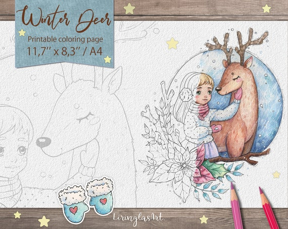 Winter Deer  Christmas coloring pages for kids printable