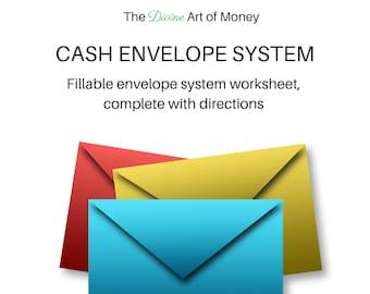 Printable Cash Envelope System Worksheet, Envelope System Printable, PDF Printable Cash Envelope Planner, US Letter size, Editable. Fillable