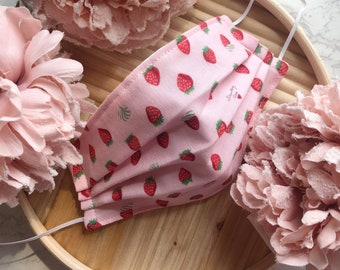 Strawberry Adult Face Mask   Lightweight Double Gauze Cotton
