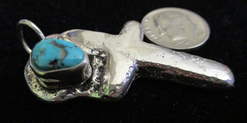 Sand Cast Cross with Turquoise