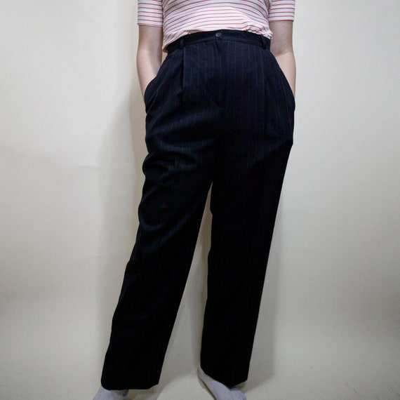 High Waisted Pin Striped Trousers