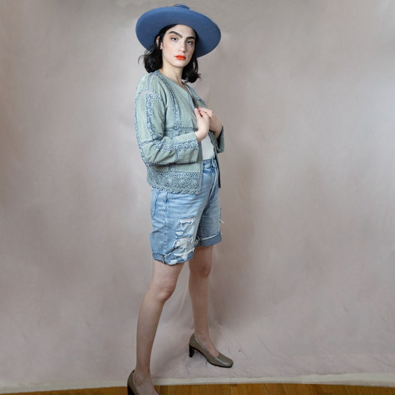 Vintage Suede And Crochet Cardigan With Flared Sle