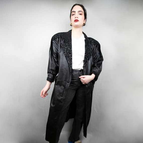 Vintage 80s Leather Duster Overcoat