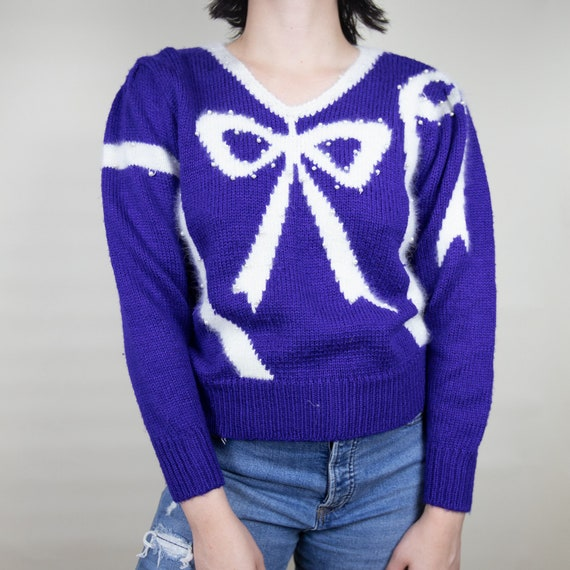Fuzzy Bow Sparkle Sweater With Pearls