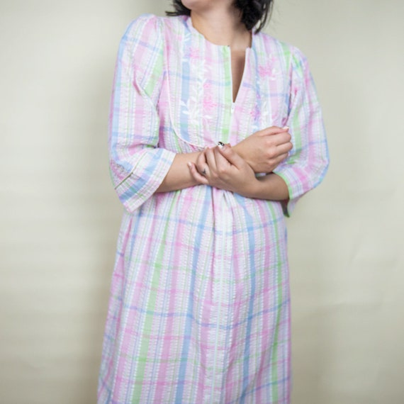 50s Seersucker Striped House Dress