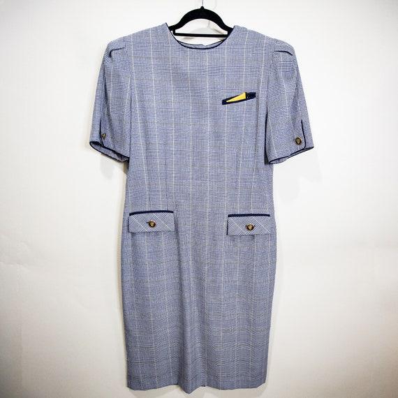 Plus Size Plaid Hounstooth Flight Dress