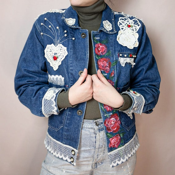 Vintage Denim Jacket With Hand Painted Flowers and