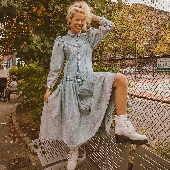 80s style Acid Wash Denim Dress