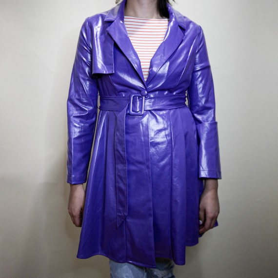Purple Pleated Belted Trench Coat