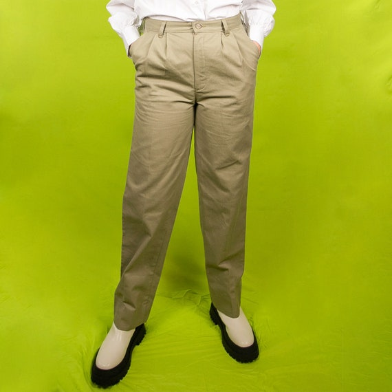 Vintage High Waisted Khaki Trousers
