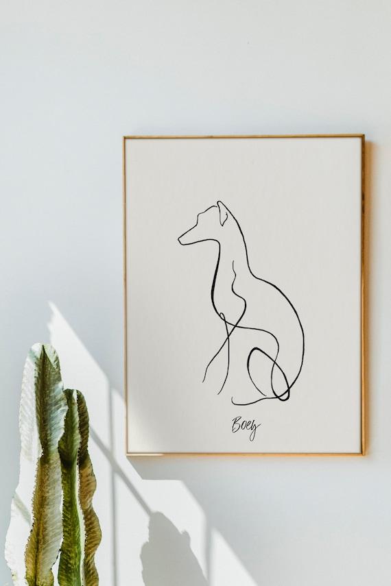 Italian Greyhound / Whippet Personalised Line Art Print